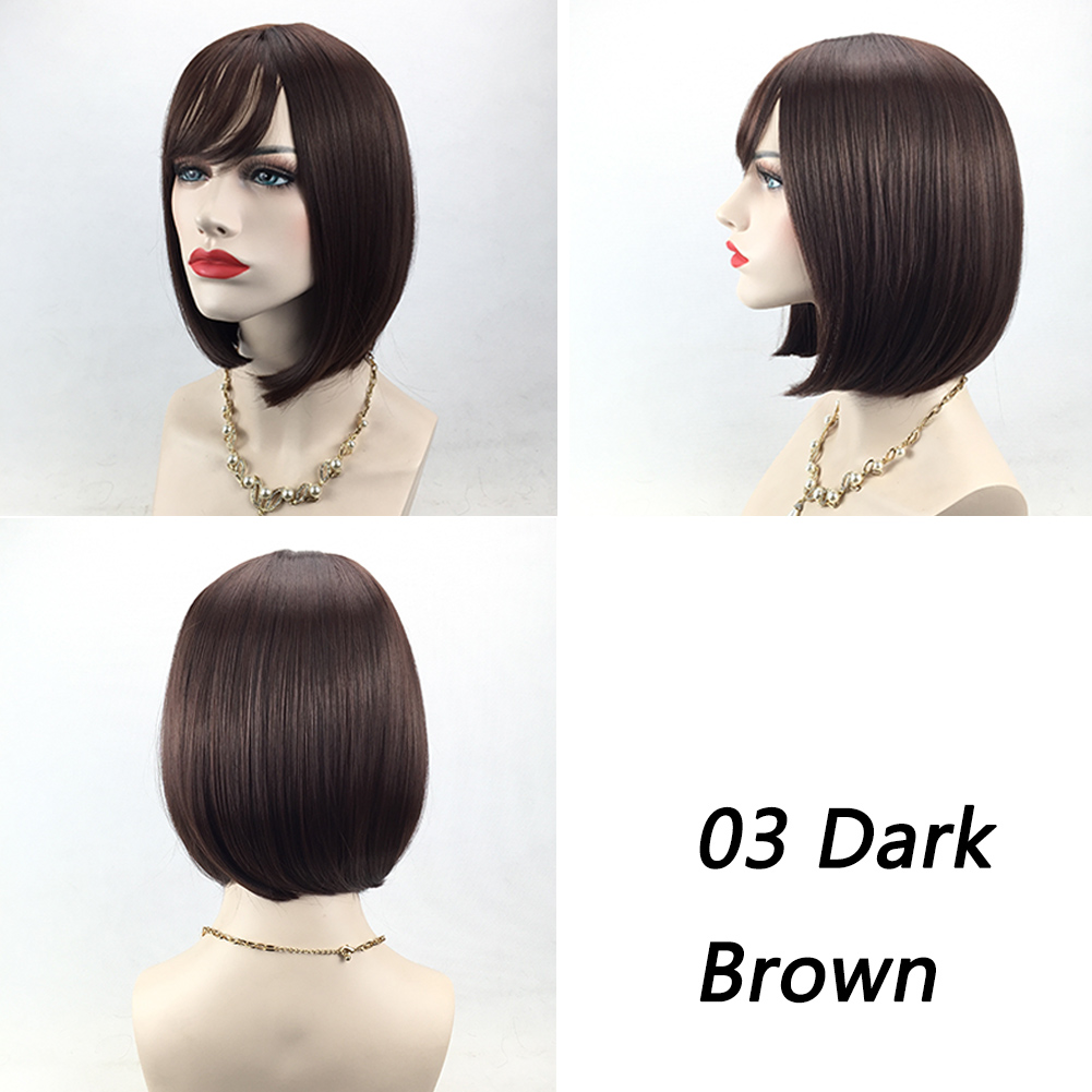 Bob Style Wig Women's Short Straight Full Hair Wigs Cosplay Party Neat Bangs Black Blonde Brown