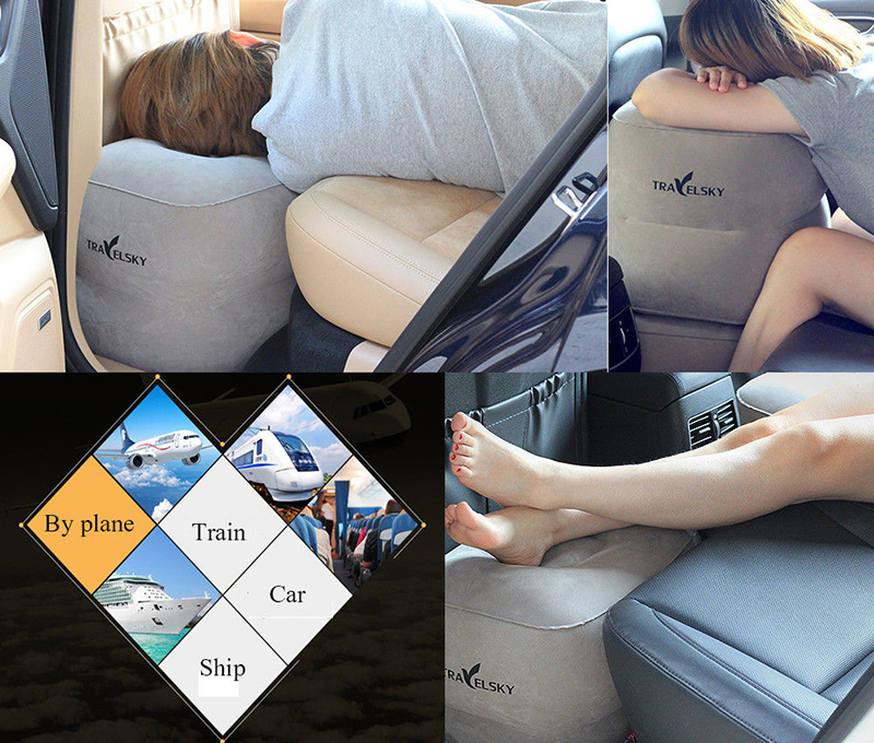 Two Layers Inflatable Travel Footrest Leg Rest Travel Pillow Air Cushion Rest Pillow