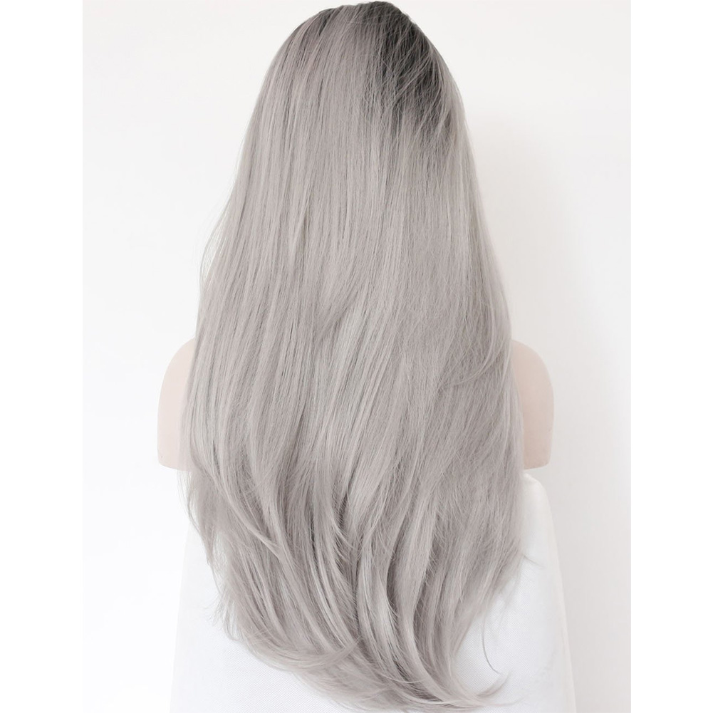 180% Density Women Hot Synthetic Lace Front Wig Heat Resistant Glueless Long Wavy Ombre Grey Gray Full Hair Wigs Cosplay