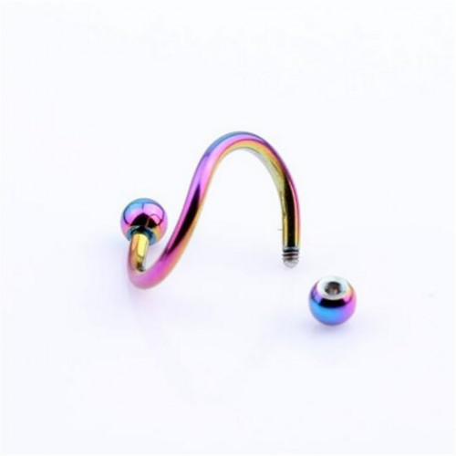 2 Pcs S Spiral Twist Circular Barbell Nose Ball Lip Rings Set Ear Cartilage Helix Piercing Pierced Punk Sexy Body Piercing Jewelry
