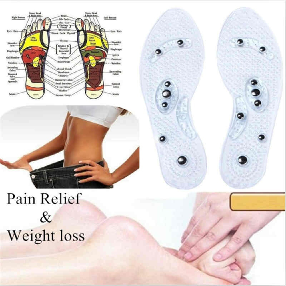 1 Pair Men Women Fashion Magnetic Therapy Insole Transparent Silicone Anti-fatigue Massage Insoles Health Care