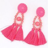 Women Fashion Rhinestone Crystal Long Tassel Dangle Fringe Drop Round Earrings Ear Stud