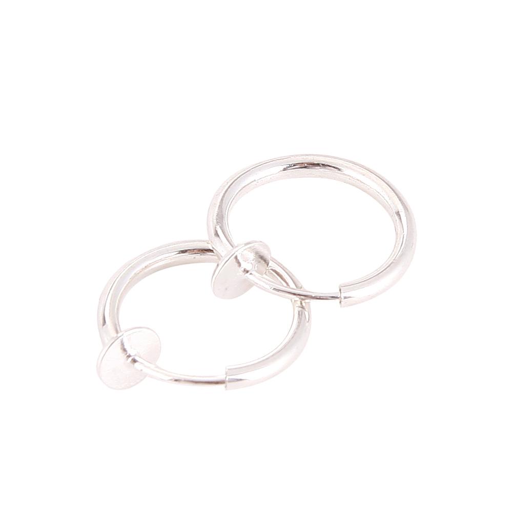 2 Piece Fake Stud Earrings Goth Punk Clip On Septum Piercing Body Nose Lip Rings Hoop Jewelry