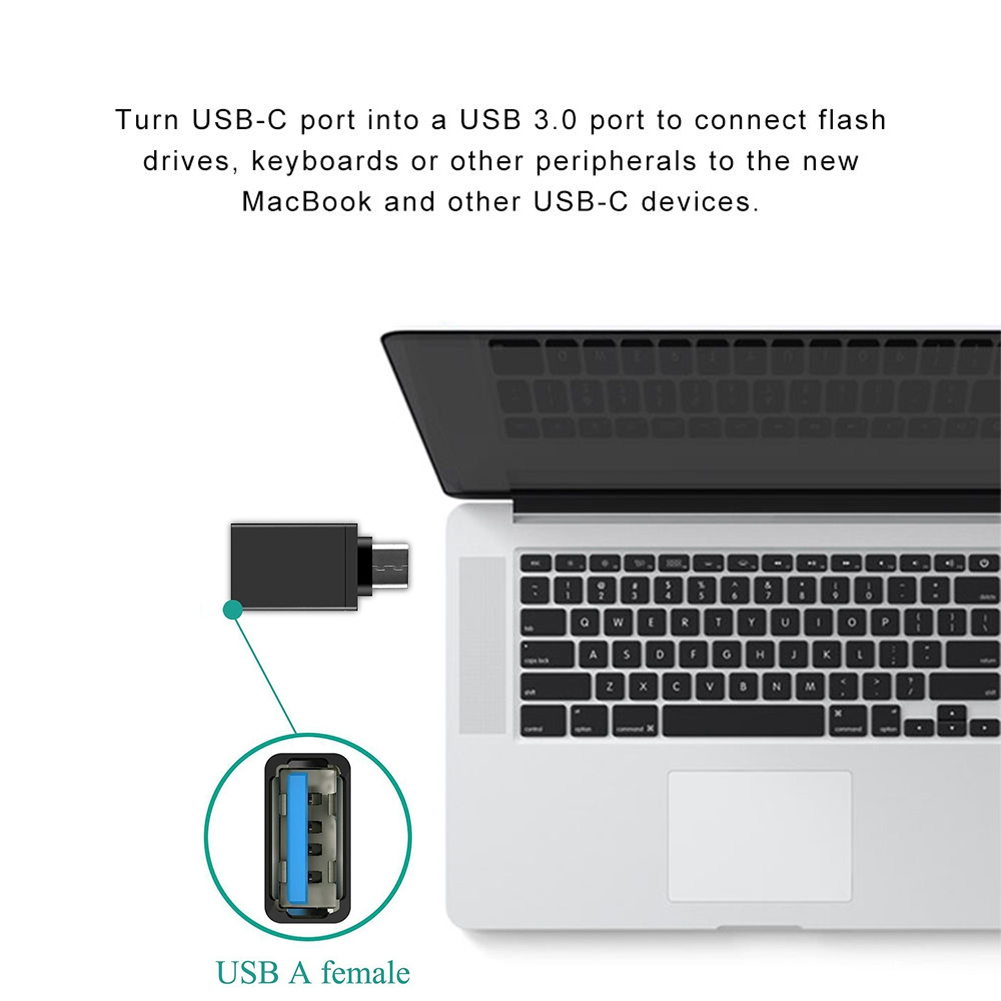 USB-C Type C Male to USB 3.0 Female OTG Data Sync Adapter for Phone Macbook