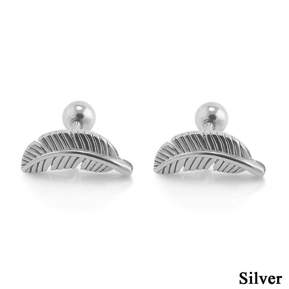 1Pair Retro Punk Mini Leaf Angel Feather Ear Stud Cartilage Helix Bar Earring Piercing Jewelry Gift