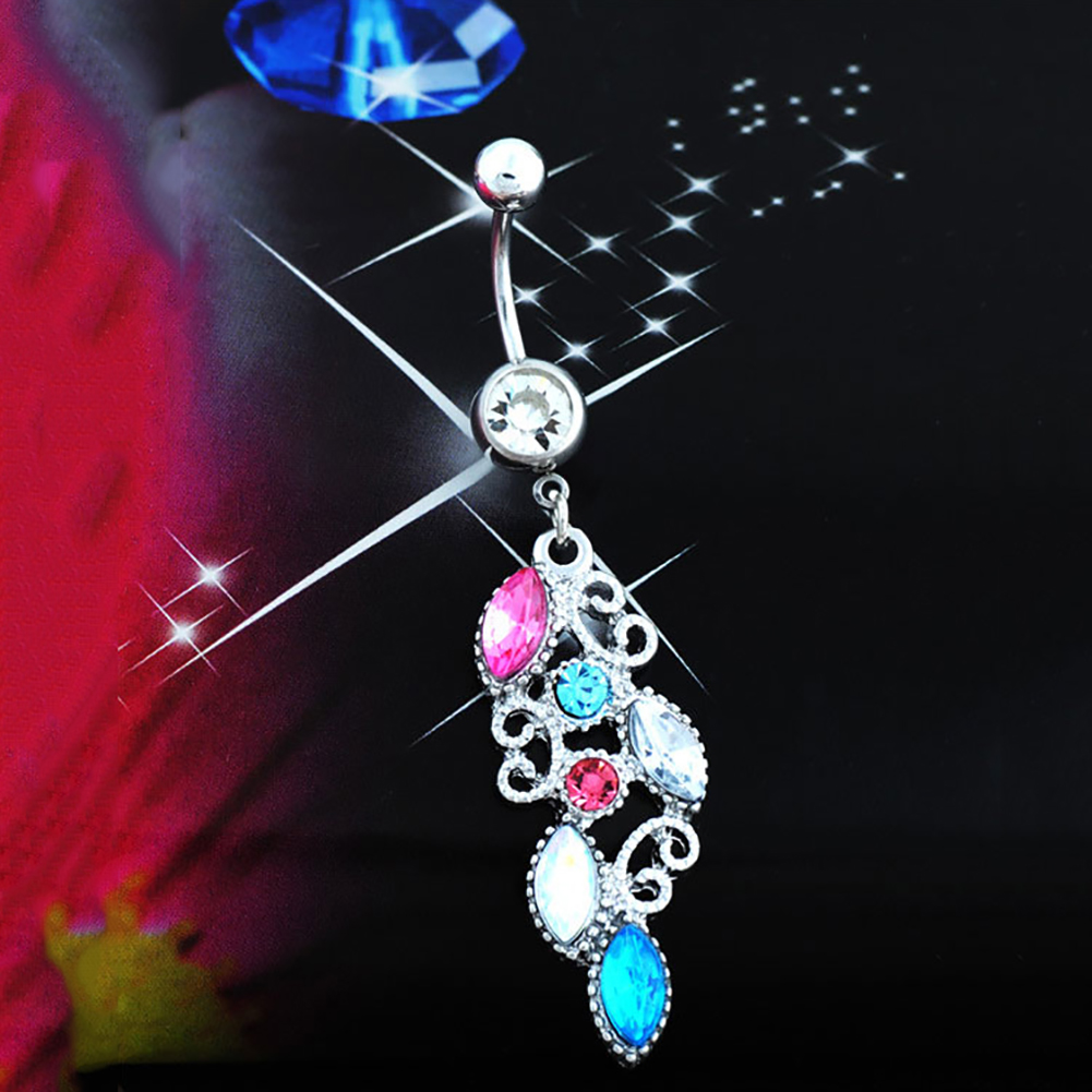 Fashion Mixed Color Crystal Flower Belly Navel Button Ring Medical Steel Surgical Body Piercing Jewelry