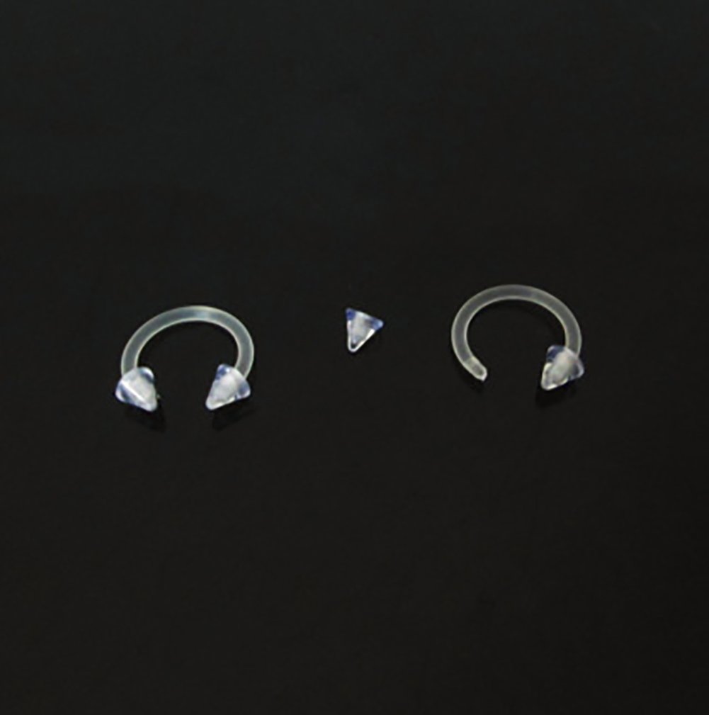 9 Pcs Body Piercing Jewelry Clear Transparent Tongue Barbell Ring Acrylic Labret Piercing Tragus Nose Ring Eyebrow Ring