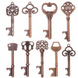 9 Pcs Antique Bronze Royal Key Charms Pendants Set for DIY Necklace Jewelry Handmade Making Accessaries