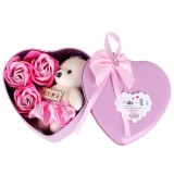 3Pcs Heart Scented Bath Rose Flower Soap Bear Party Decor Valentine's Day Gift