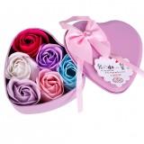 6Pcs Heart Scented Bath Body Petal Rose Flower Soap Wedding Valentines Gift
