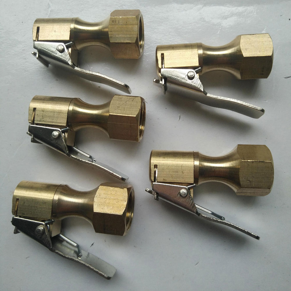 """2pcs 1//4/"""" NPT Open Straight Lock-On Air Chuck with Clip for Tire Inflator"""