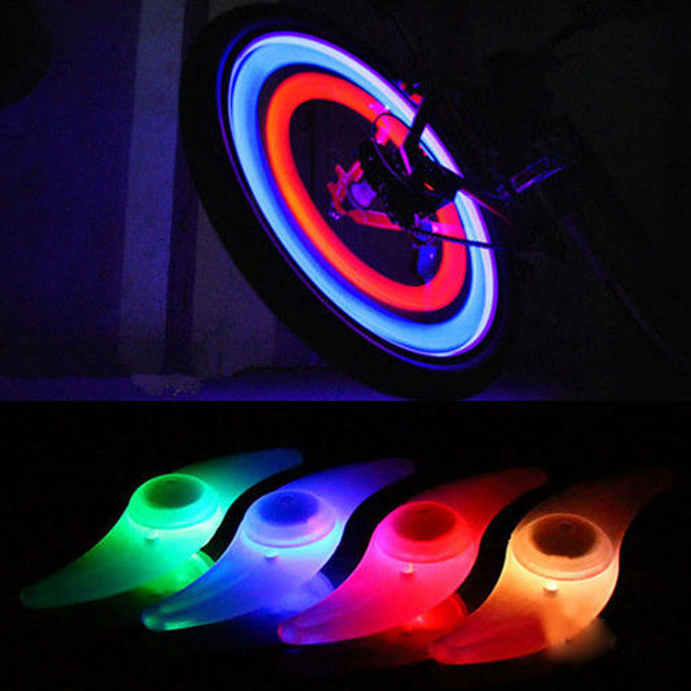 2PCS Colorful Bike Bicycle Cycling Spoke Wire Tire Tyre Wheel LED Bright Light LampAA