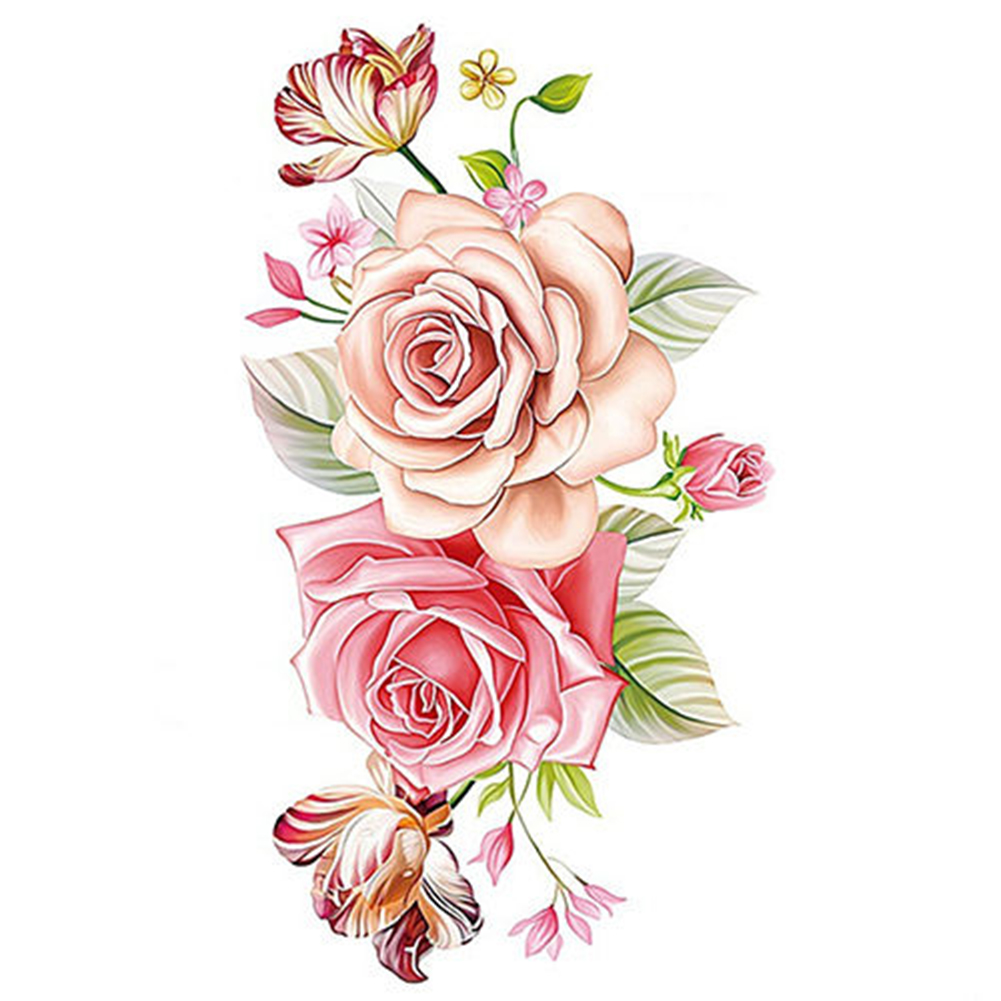 Women's Body Art Waterproof Peony Flower Arm Leg Back Temporary Tattoo Sticker