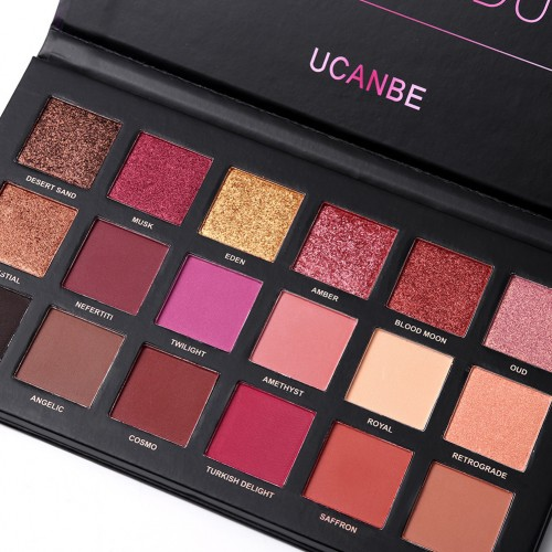 UCANBE Brand 18 Colors Shimmer Matte Chrome Pigmented Pressed Eyeshadow Makeup Palette Natural Long Lasting Cosmetic Set