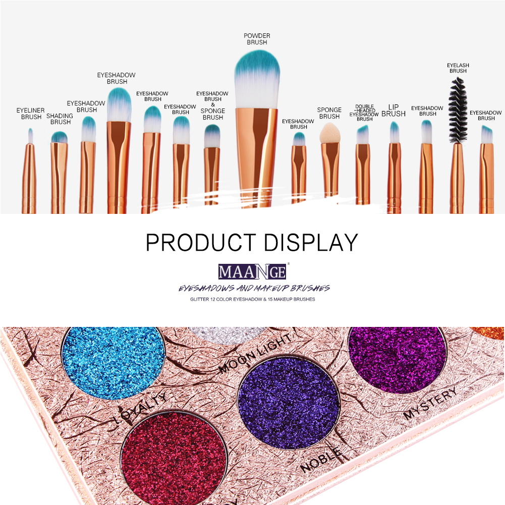 12 Colors Glitter Diamond Pressed Shiny Pigmented Eyes Shadow Powder Palette +15Pcs Makeup Brushes Beauty Makeup Set