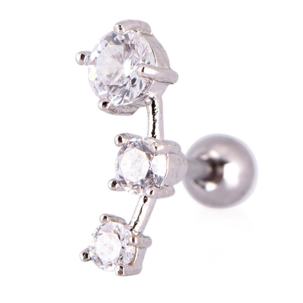1 Pc Cubic Zirconia Steel Barbell Ear Tragus Cartilage Helix Stud Earrings Piercing