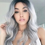70-75CM Women Synthetic Hair Wig Black Gradient Silver Gray Pink Brown Green Wine Red Long Wavy Cosplay Party