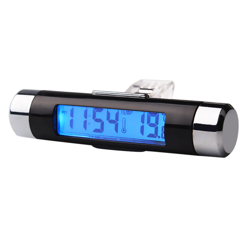 Car Air Vent Clip Electronic Clock Digital LCD Display Backlight Thermometer TW