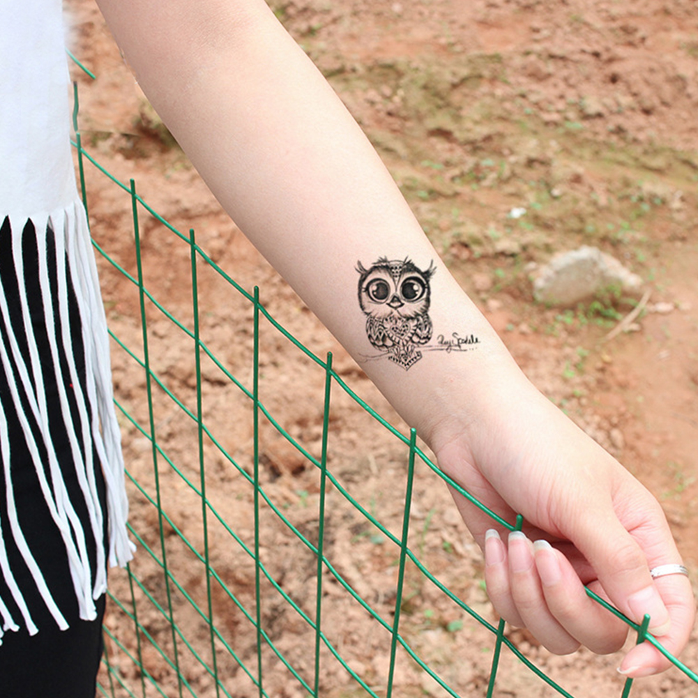 Cute Cartoon Owl Waterproof Temporary Fake Tatto Sticker Tattoo Water Transfer 10.5*6CM For Kid Adults