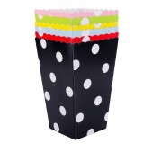 12PCS Dots Printing Popcorn Boxes for Wedding Party Supply Favor Candy Treat Bags
