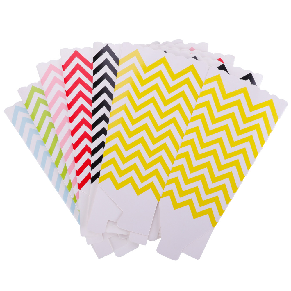12PCS Wave Pattern Popcorn Boxes for Wedding Party Supply Favor Candy Bags