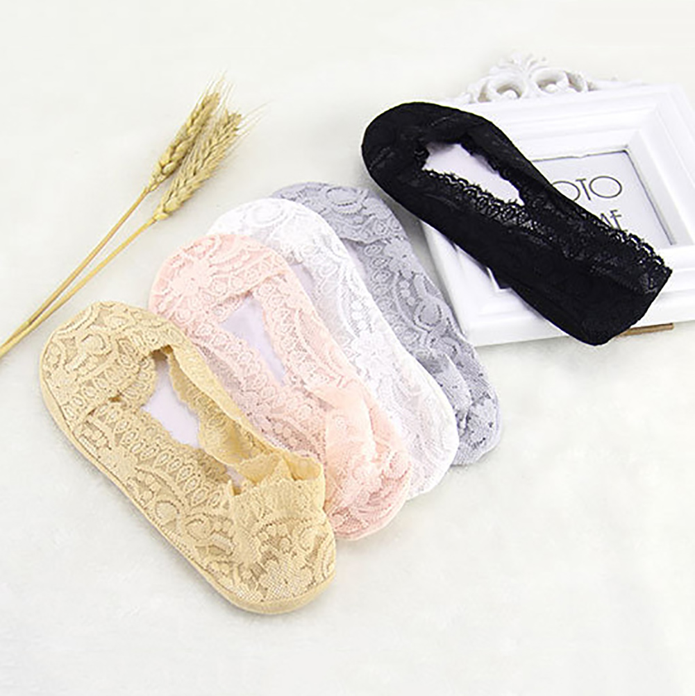 6 Pairs No Show Socks Women Lace Thin Casual Low Cut Socks Non Slip No Show Socks for Flats Liner Socks
