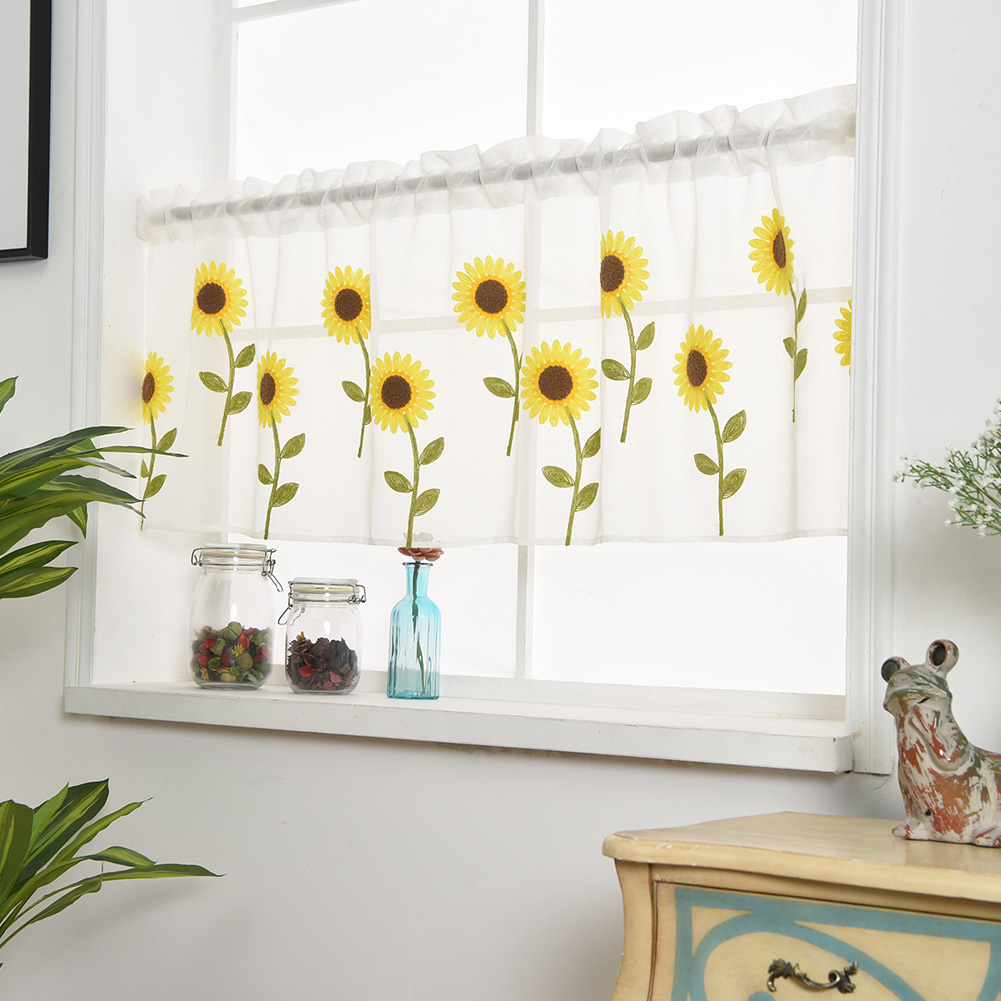 Daisy Kitchen Decor: Daisy Embroidery Curtain Home Kitchen Window Half Sheer