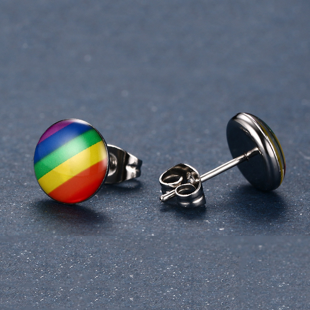 LGBT Rainbow Earring Gay Pride Charm Stainless Steel Ear Studs for Men Women Fashion Jewelry Gift