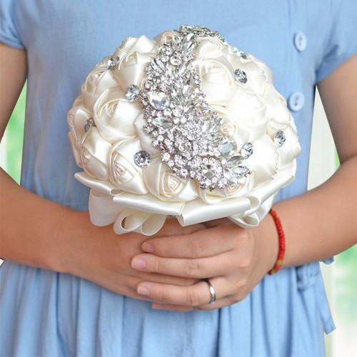 Elegant Wedding Bride Holding Bouquet Handmade Rhinestone Crystal Brooch Rose Flowers
