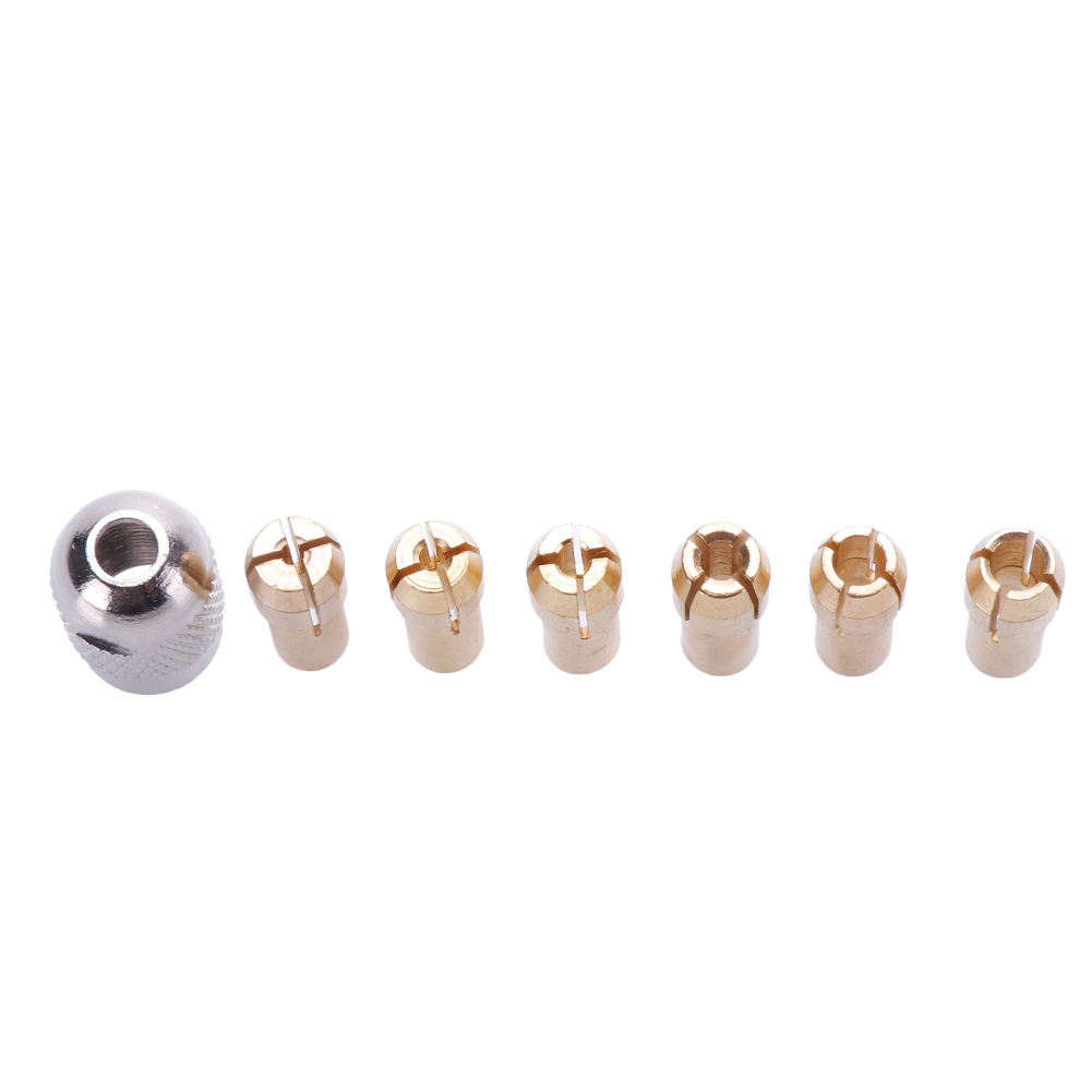 6Pcs Brass Drill Chuck Adapter Set 1-3mm Collets for Rotary Tool