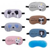 Cute Cat Cartoon Soft Eye Aid Sleep Mask with Comfortable Ice Compress Gel Travel Rest Eye Shade Cover Blindfold Women Men
