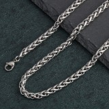 3/4/5/6/8/10mm Stainless Steel Braided Chain Necklaces Men Women Necklace Hiphop Style Necklaces Fashion Jewelry for Couple