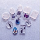 5Pcs Resin Silicone Pendant Mould Craft Mold Set for DIY Necklace Jewelry Mold Making