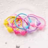 Double Beads Cartoon Children's Hair Ring Candy Color Children's Head Rope Hair Band Rubber Band Hair Accessories