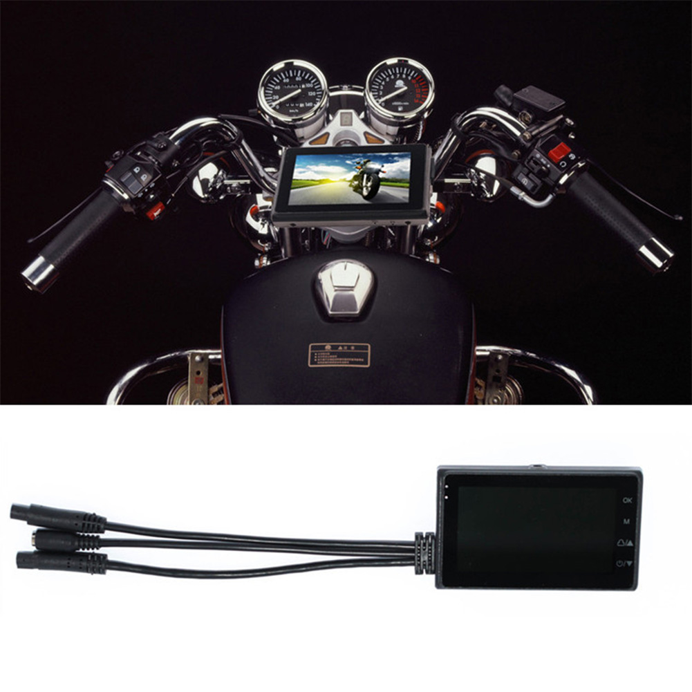 """3"""" 1080P + 720P Motorcycle Camera Motorbike Dual HD Dash Cam Video Wide Angle DVR Camcorder"""