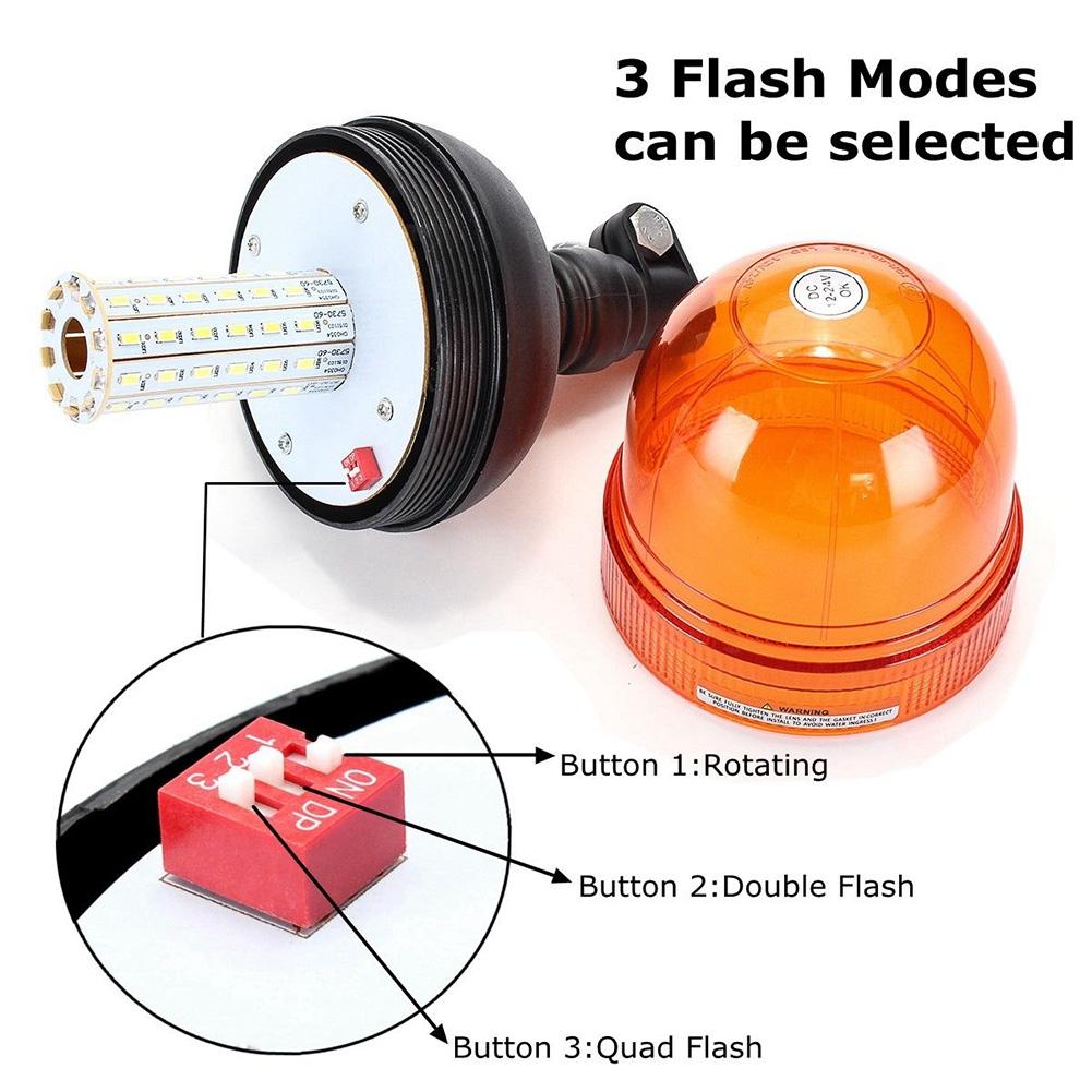 60 LED Emergency Warning Flash Strobe Rotating Beacon Tractor Light Motor Amber