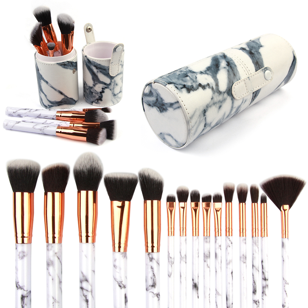 15Pcs White Marble Handle Brushes+Organizer Cup Holder Case Container Set Powder Foundation Eyeshadow Lip Blush Fan Makeup