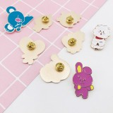 KPOP BTS Cute Cartoon BT21 Badge Metal Brooch Pins Decor Fan Favor Collection