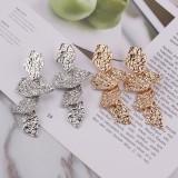 Fashion Female Jewelry Stoving varnish Irregular Leaves Earring Ear Stud Gold Silver Geometric Jewelry Gift For Women Girls