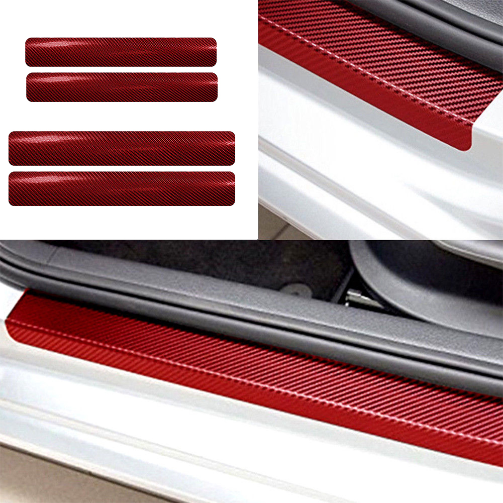 4* Auto Accessories Door Sill Scuff Welcome Pedal Protect Carbon Fiber Stickers