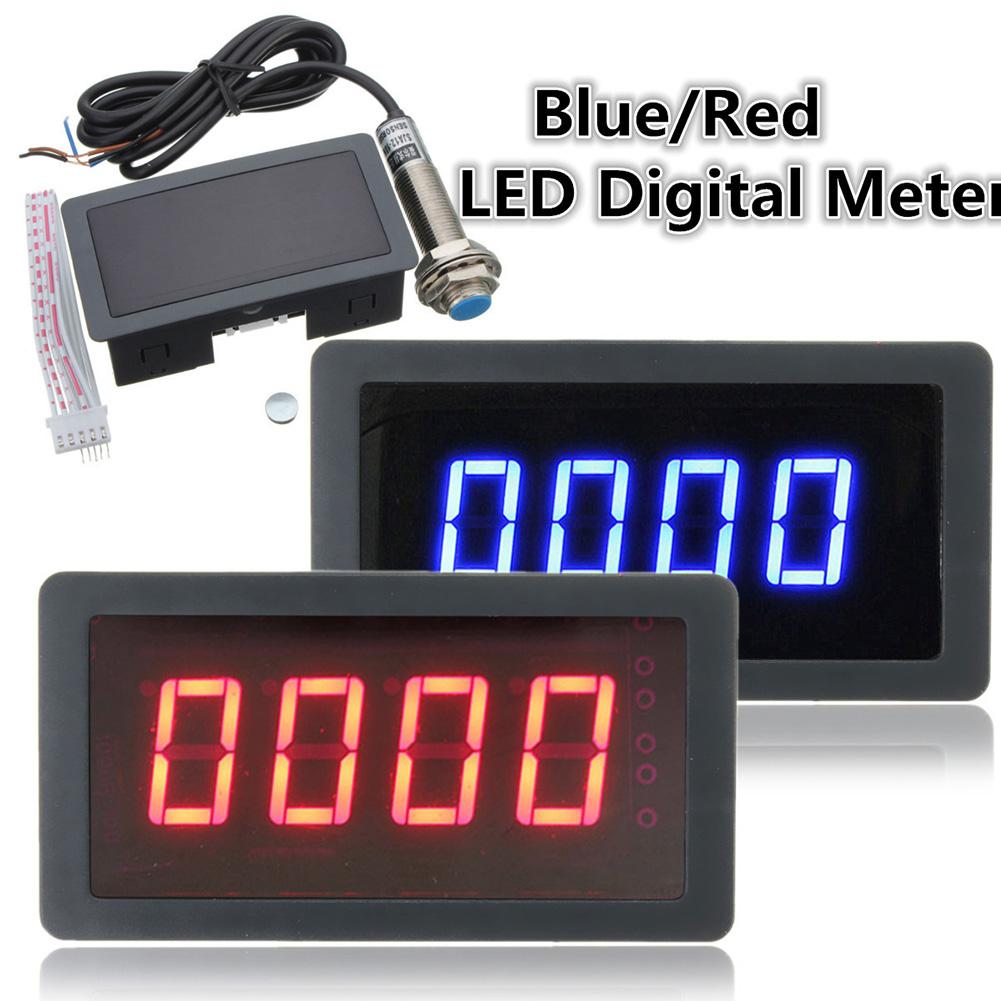 4 Digital LED Tachometer RPM Speed Meter + Hall Proximity Switch Sensor NPN Blue/Red