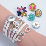 Leather Bracelet Snap Button Bracelet Bangle Fit 18mm Snap Buttons Jewelry Handmade Bracelets Gift For Girls