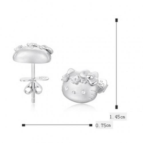 925 Silver Plated Hello Kitty Earring Cute Cat Ear Stud Classic Cartoon Animal Earring Fashion Silver Jewelry Gift For Women Girls