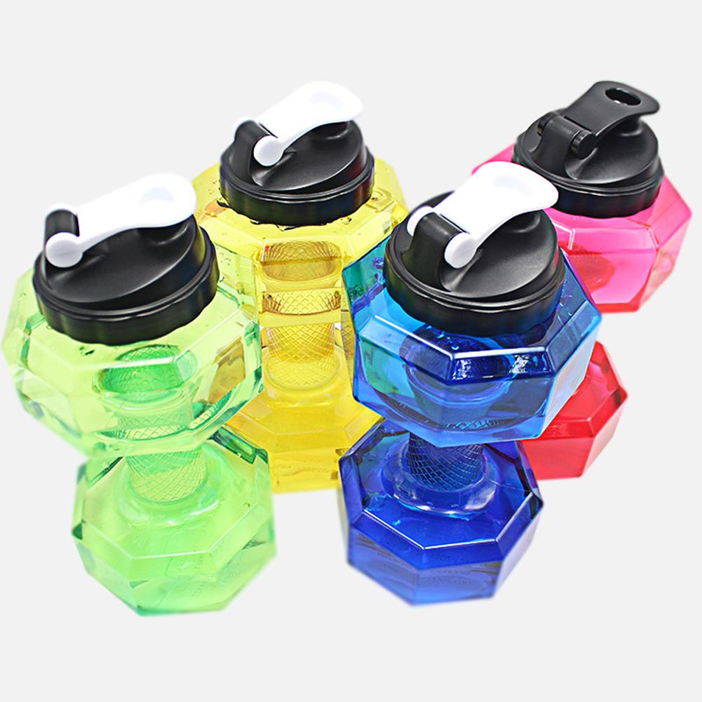Dumbbell Shaped Water Bottle Big Capacity BPA Free Leak Proof 2.2L Kettle For Gym Training