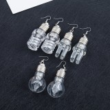 LED Lamp Bulb Pendant Earring Creative Luminous Pendant Ear Hoop Party Club Accessory Funny Gift For Women Girls