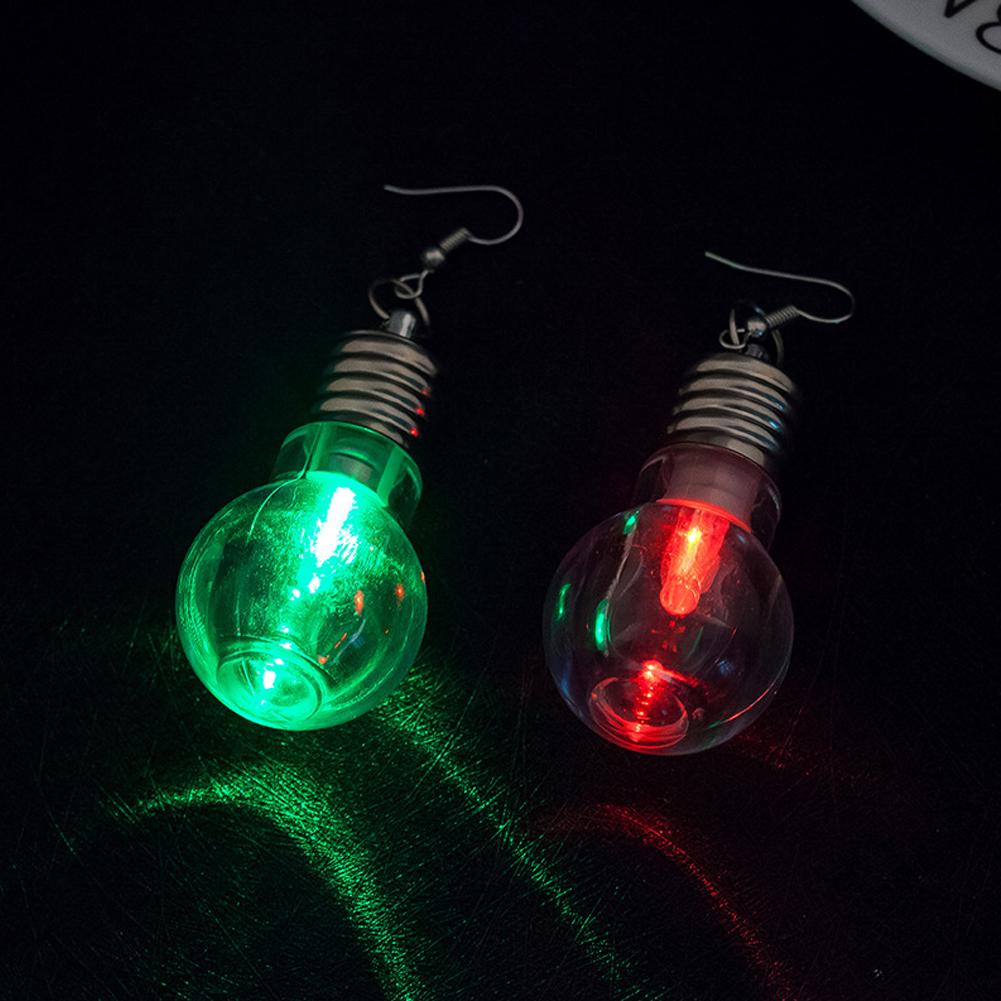 LED Lamp Bulb Pendant Earring Creative Luminous Pendant Ear Hoop Party Club Accessory Funny Gift For Women Girls