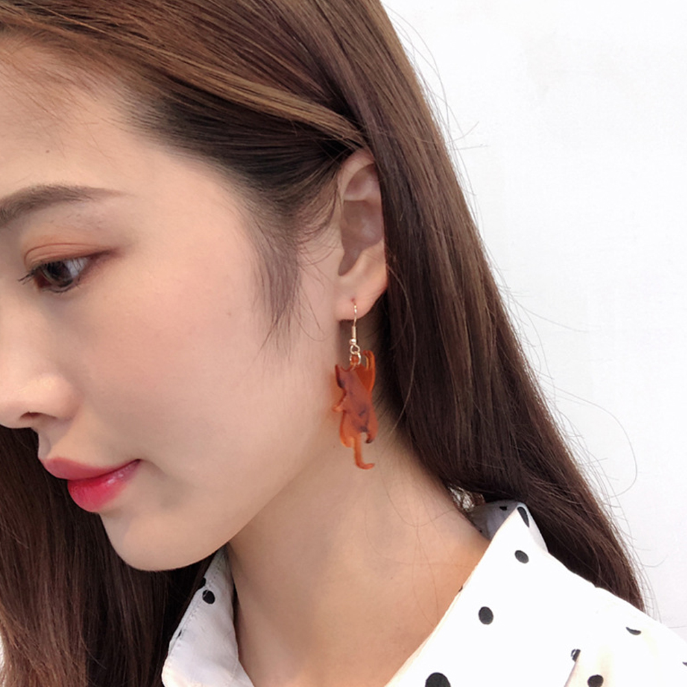 Cute Cat Resin Pendant Earring Nifty Cartoon Animal Ear Hoop Kawaii Jewelry Accessory Gift For Women Girls