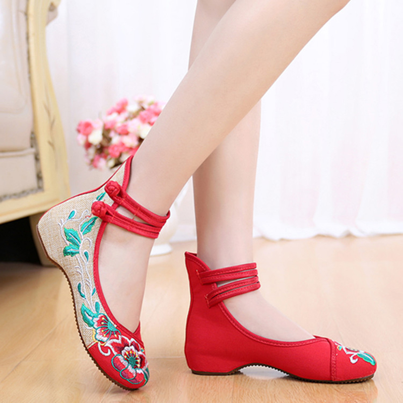 Vintage New Embroidery Chinese Style Dichotomanthes Bottom Casual Flat Shoes