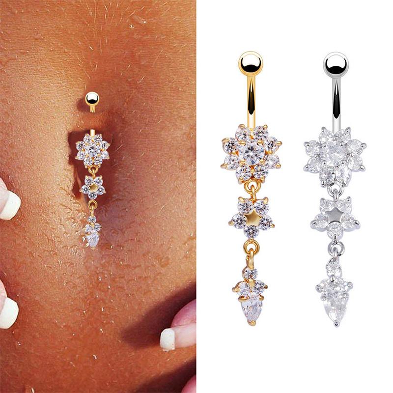 Women Beauty Crystal Flower Dangle Navel Belly Button Ring Body PiercingJewelry