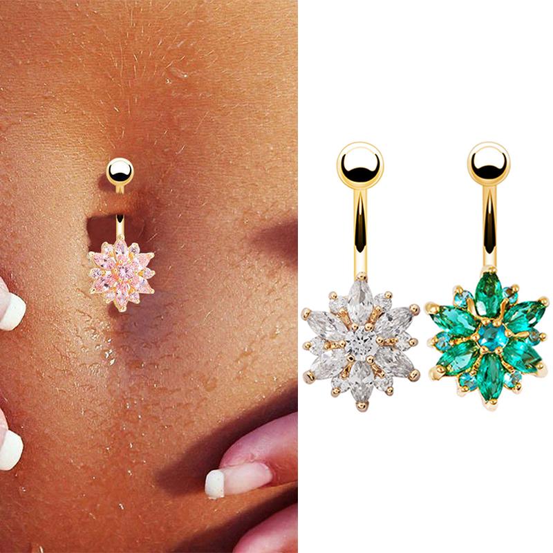 Belly Button Rings Rhinestone Snow Flower Navel Dance Body Piercing Women